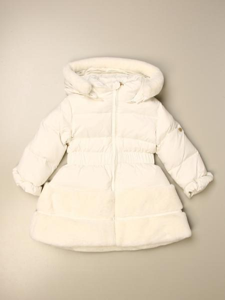 Miss Blumarine nylon down jacket with fur edges