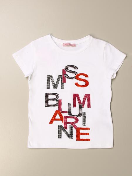 T-shirt Miss Blumarine con stampa logo di strass