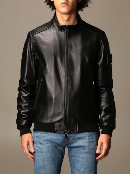 Paciotti 4Us: Paciotti 4US leather bomber jacket with zip