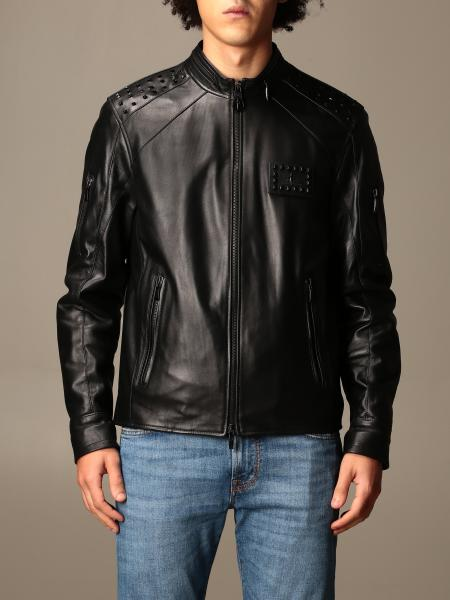 Paciotti 4Us: Paciotti 4US leather bomber jacket with studs