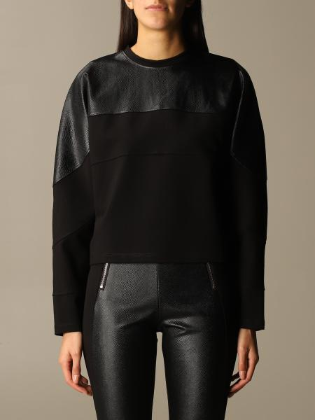 Paciotti 4Us: Paciotti 4US crewneck sweatshirt with synthetic leather detail