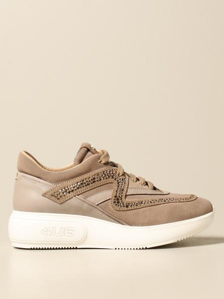 Paciotti 4Us: Paciotti 4US sneakers in suede and leather with rhinestones