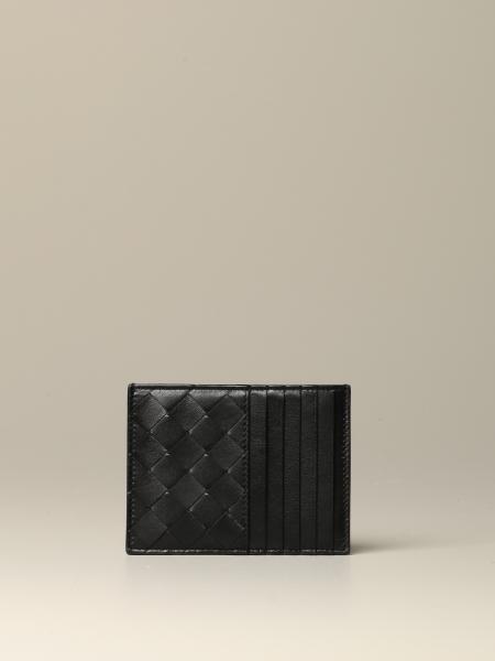 Porta carte di credito Bottega Veneta in pelle intrecciata con zip