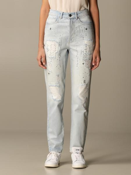 Be Blumarine: Be Blumarine jeans in denim with tears and rhinestones