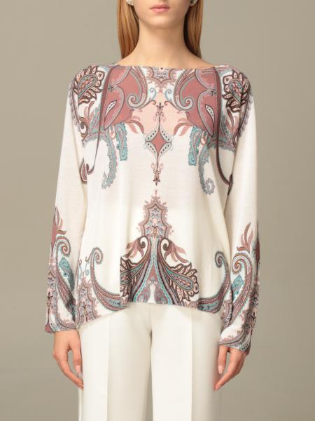 Blumarine: Wide neckline in wool and cashmere jacquard silk