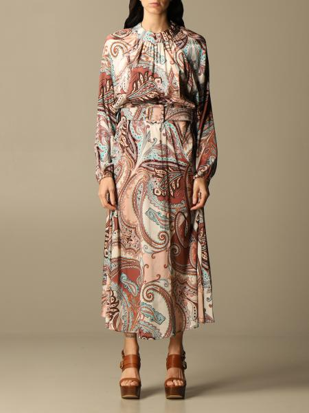 Blumarine: Long Blumarine dress in silk with cashmere print