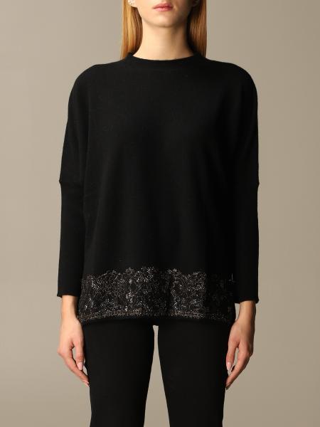 Sweater cashmere with rhinestone lace bottom Blumarine - Giglio.com