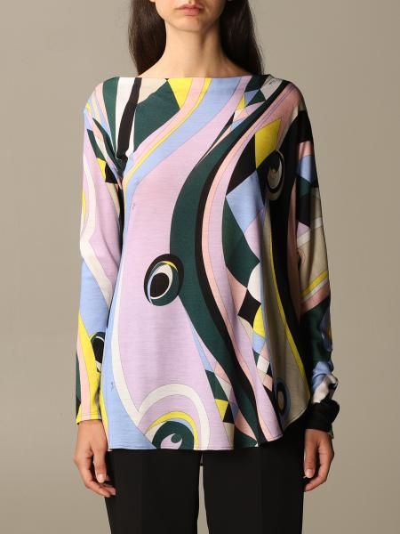 Emilio Pucci: Patterned boat neck wool jersey