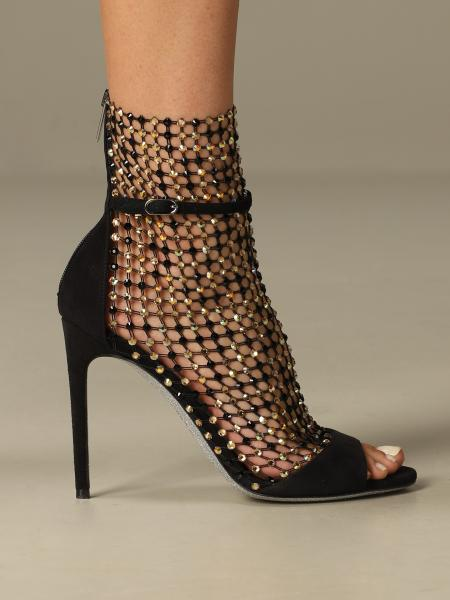 Galaxia René Caovilla sandal in suede and mesh with crystals