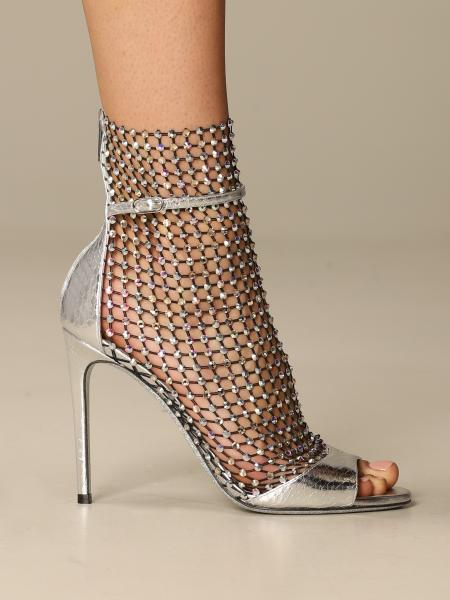 Galaxia René Caovilla sandal in ayers leather and mesh with crystals