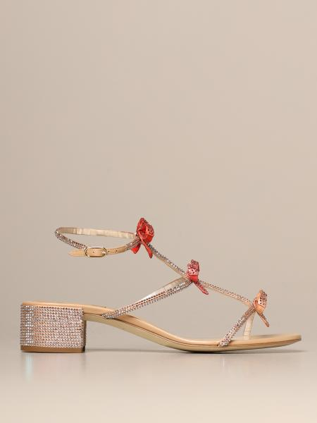 Caterina René Caovilla sandal in satin with rhinestones