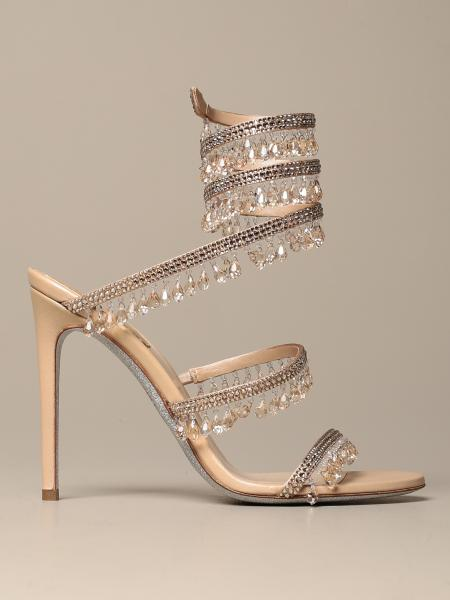 René Caovilla Chandelier sandal in satin with crystals and pendants