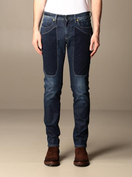 Jeckerson: Jeans Jeckerson in denim used con toppe in Alcantara