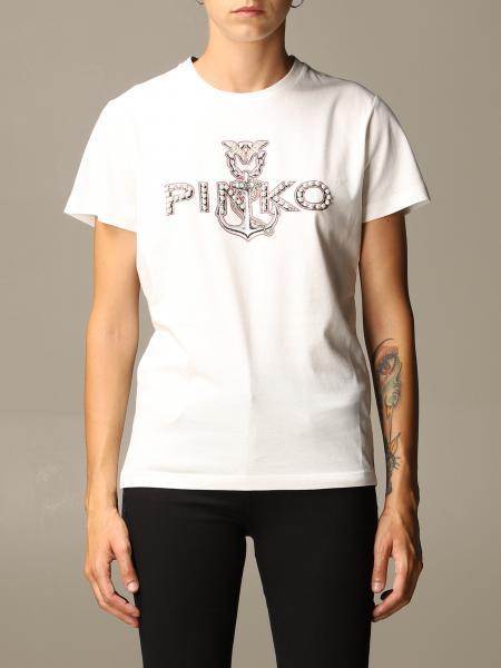 Pinko donna: T-shirt Landolfo Pinko in cotone con logo di strass