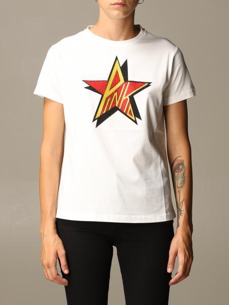 Pinko donna: T-shirt Anacleto Pinko in cotone con logo di strass