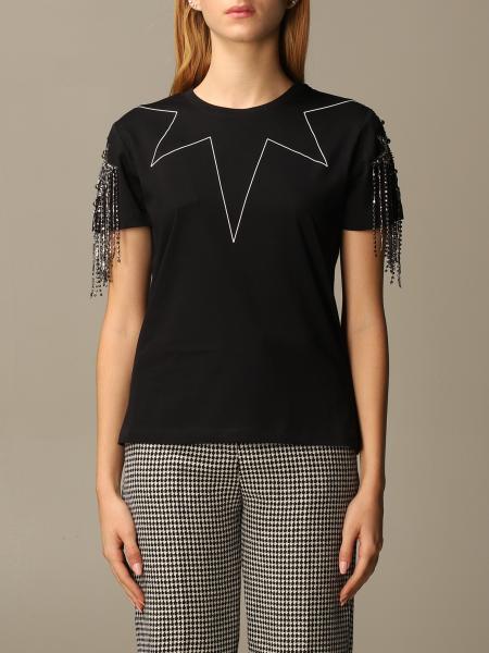Pinko donna: T-shirt Sigfrido Pinko con frange di strass