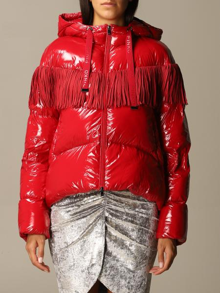 Donato Pinko glossy down jacket with hood and fringes