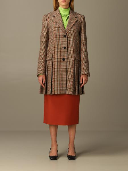 Prada coat in cashmere and check wool