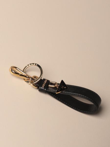 Prada Saffiano皮革三角形坠钥匙扣