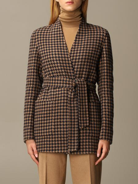 Max Mara women: Nuraghe Max Mara blazer in houndstooth wool and cashmere
