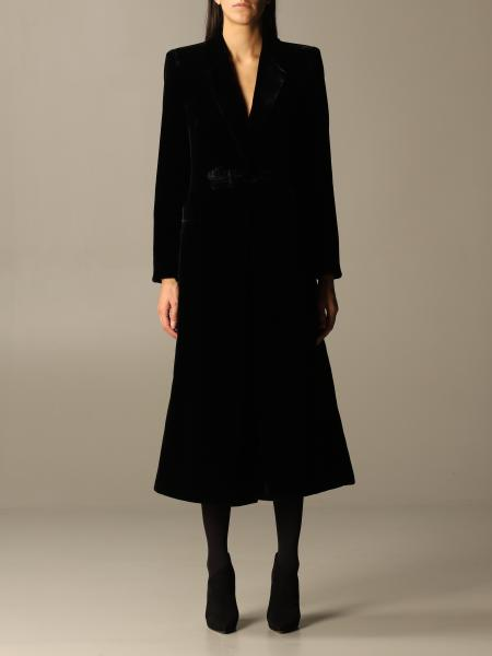 Giorgio Armani: Giorgio Armani coat in velvet with logo