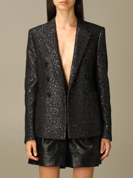 Saint Laurent double-breasted jacket in sequined wool tweed