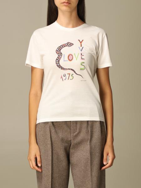 T-shirt Saint Laurent in cotone con snake