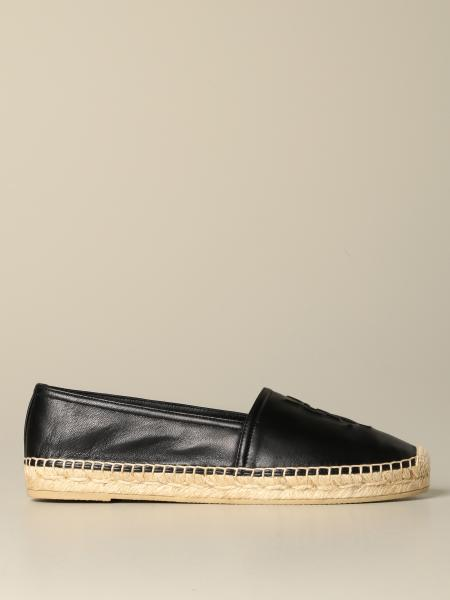 Espadrillas Saint Laurent in pelle con logo embossed