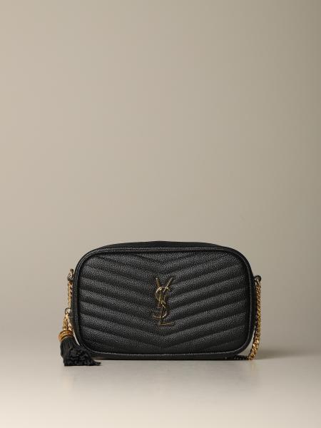 Lou mini Saint Laurent 手袋,粒纹皮革
