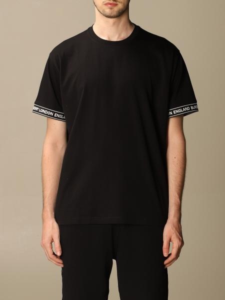 Teslow Burberry stretch cotton T-shirt with logoed bands