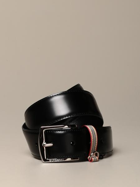 Burberry leather belt with vintage striped loop