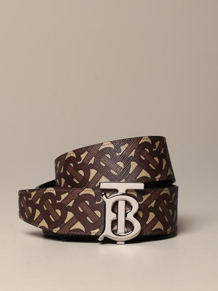 Burberry belt in canvas and leather with monogram print
