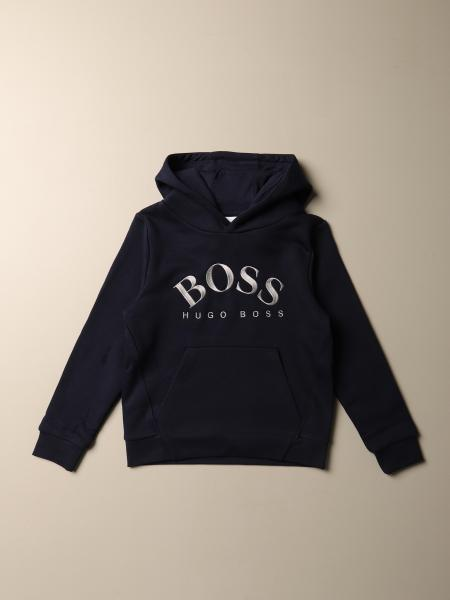 Hugo Boss sweatshirt in cotton blend with hood and logo