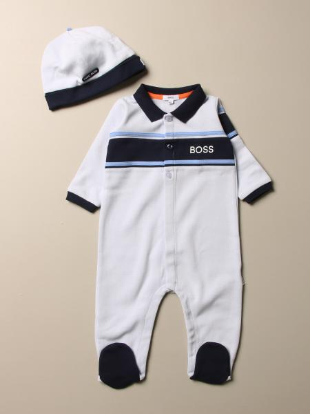 Hugo Boss set footed romper + cotton cap with logo
