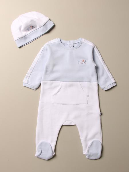 Hugo Boss set footed romper + cap with logo