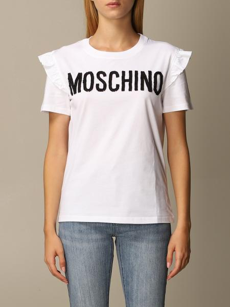 Moschino Couture T-shirt with sequin and rouches logo