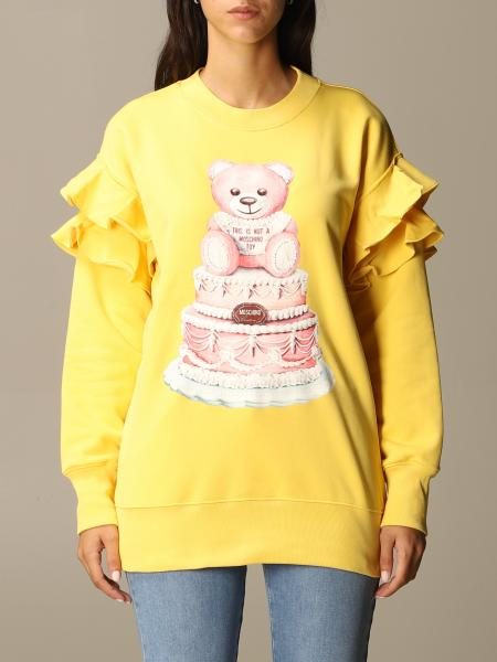 Moschino Couture sweatshirt with Teddy cake print and rouches