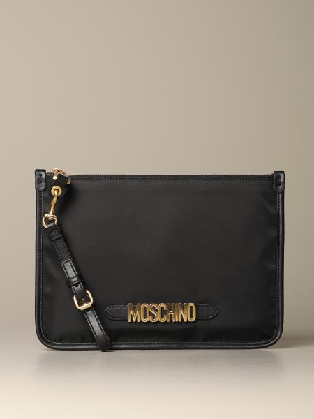 Moschino Couture nylon clutch with lettering logo