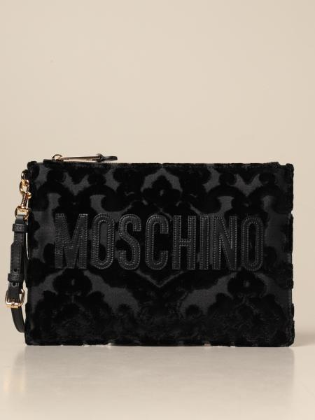 Moschino Couture brocade clutch bag with logo