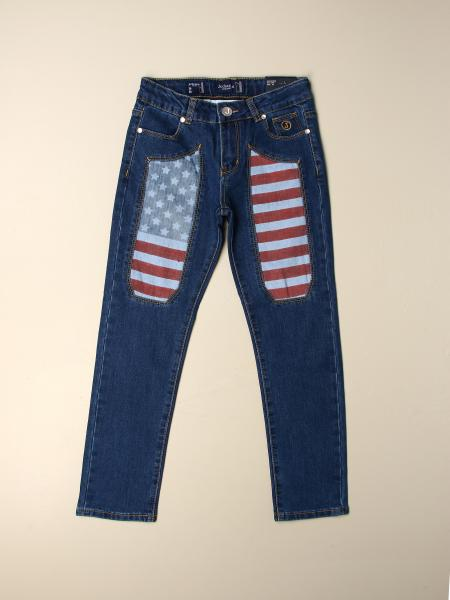 Jeans Jeckerson in denim con toppe bandiera USA
