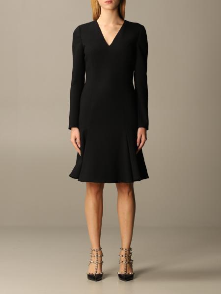 Manica lunga v crepe couture di lana