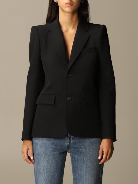 Balenciaga: Curved Balenciaga jacket in wool twill with curved shoulders
