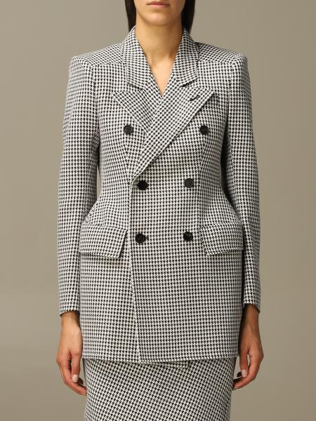 Balenciaga double-breasted jacket in houndstooth wool