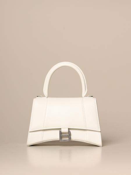 Petit sac Hourglass top handle small Balenciaga en cuir martelé