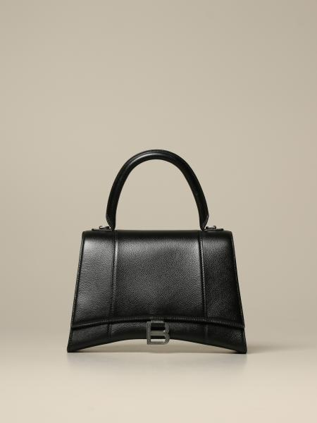 Sac à main Hourglass top handle M Balenciaga en cuir martelé