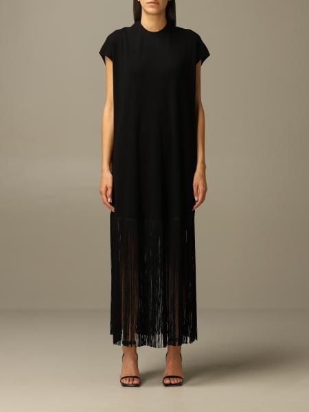 Long Balenciaga dress in stretch viscose with fringes