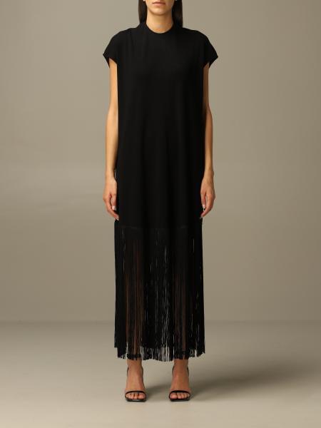 Balenciaga: Long Balenciaga dress in stretch viscose with fringes