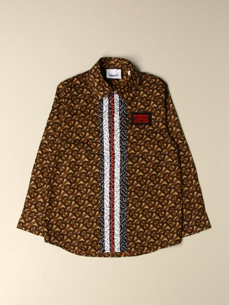 Burberry kids: Burberry cotton shirt with all-over TB print