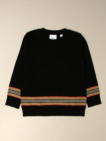 Burberry kids: Burberry pullover in Merino wool with striped bands