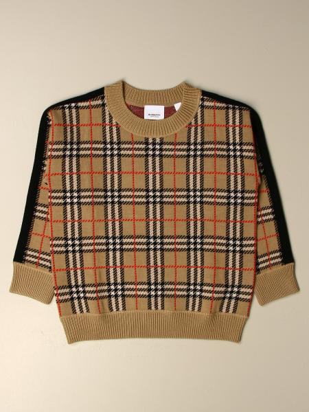 Burberry kids: Burberry check crew neck sweater